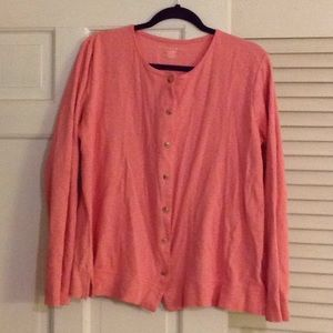 Pink cardigan with green, lavender and tan dots